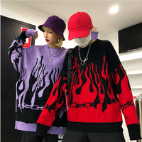 Couple Sweater Harajuku Hip Hop Flame Fire Sweaters Knit 2019Autumn Winter Man Women Outfits Loose Pullover Fashion Tops Unisex