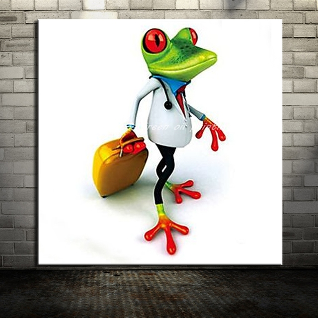 Handpainted Travel Frog Animal Oil Painting On Canvas Painting Modern Canvas Wall Art Bedroom Decor No Framed Picture Wall Decor