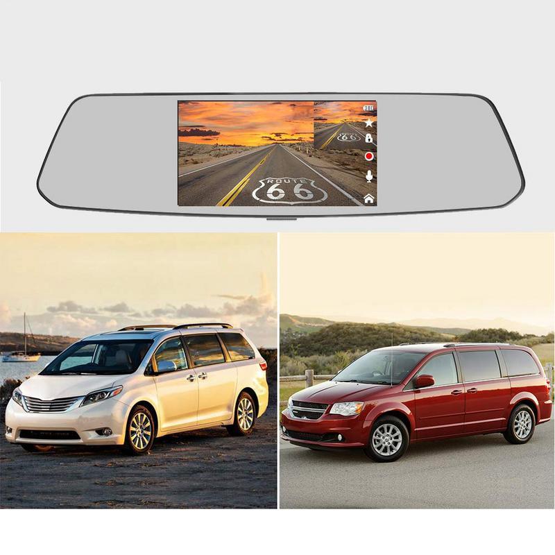 2019 nouveau 5 pouces miroir Dash Cam écran tactile Full HD 1080 P double Dash Cam avant arrière avec caméra de vue arrière étanche