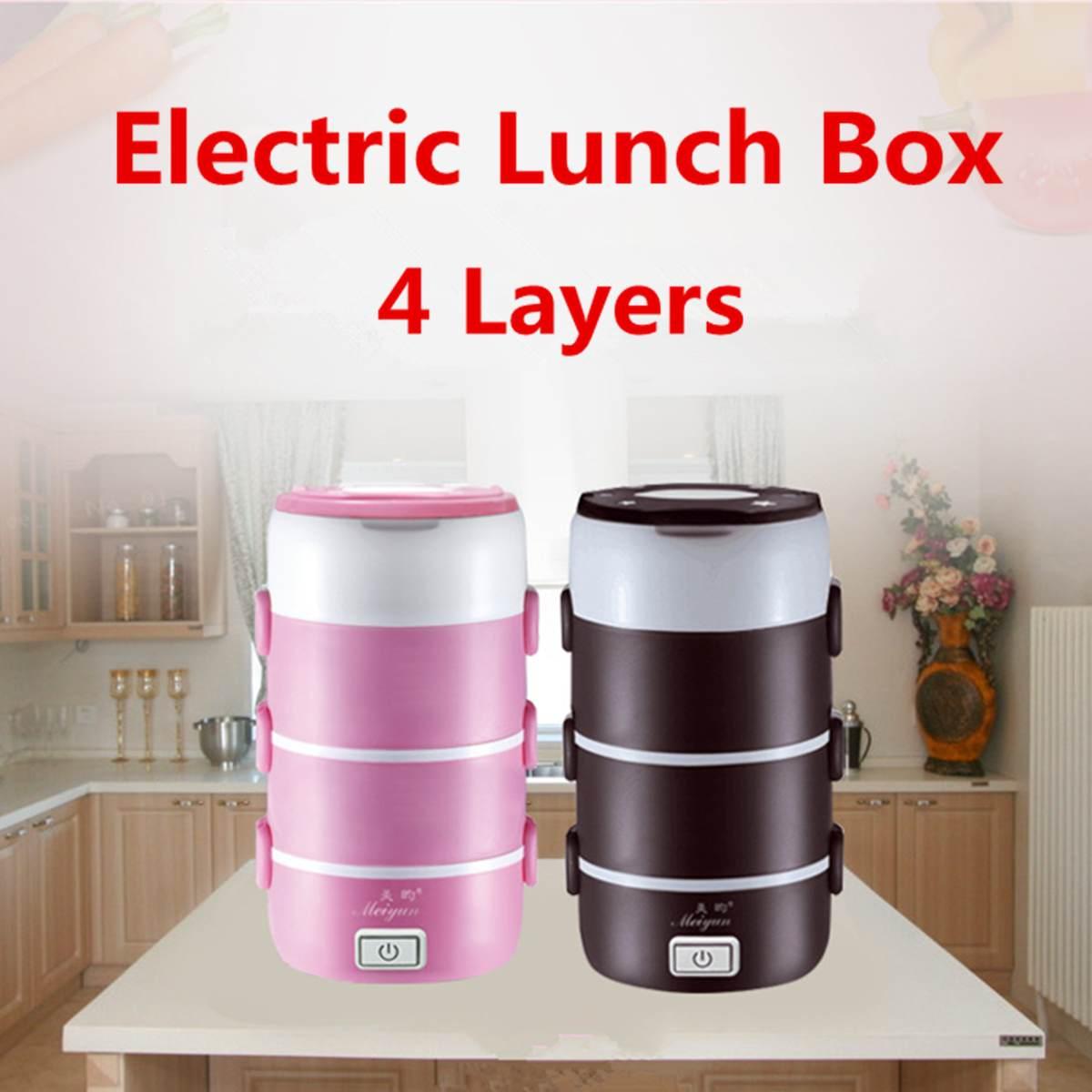 Portable 4 couches boîte à Lunch électrique ronde 220 v chauffé récipients alimentaires réchauffeur alimentaire école saine boîtes à Lunch conteneurs