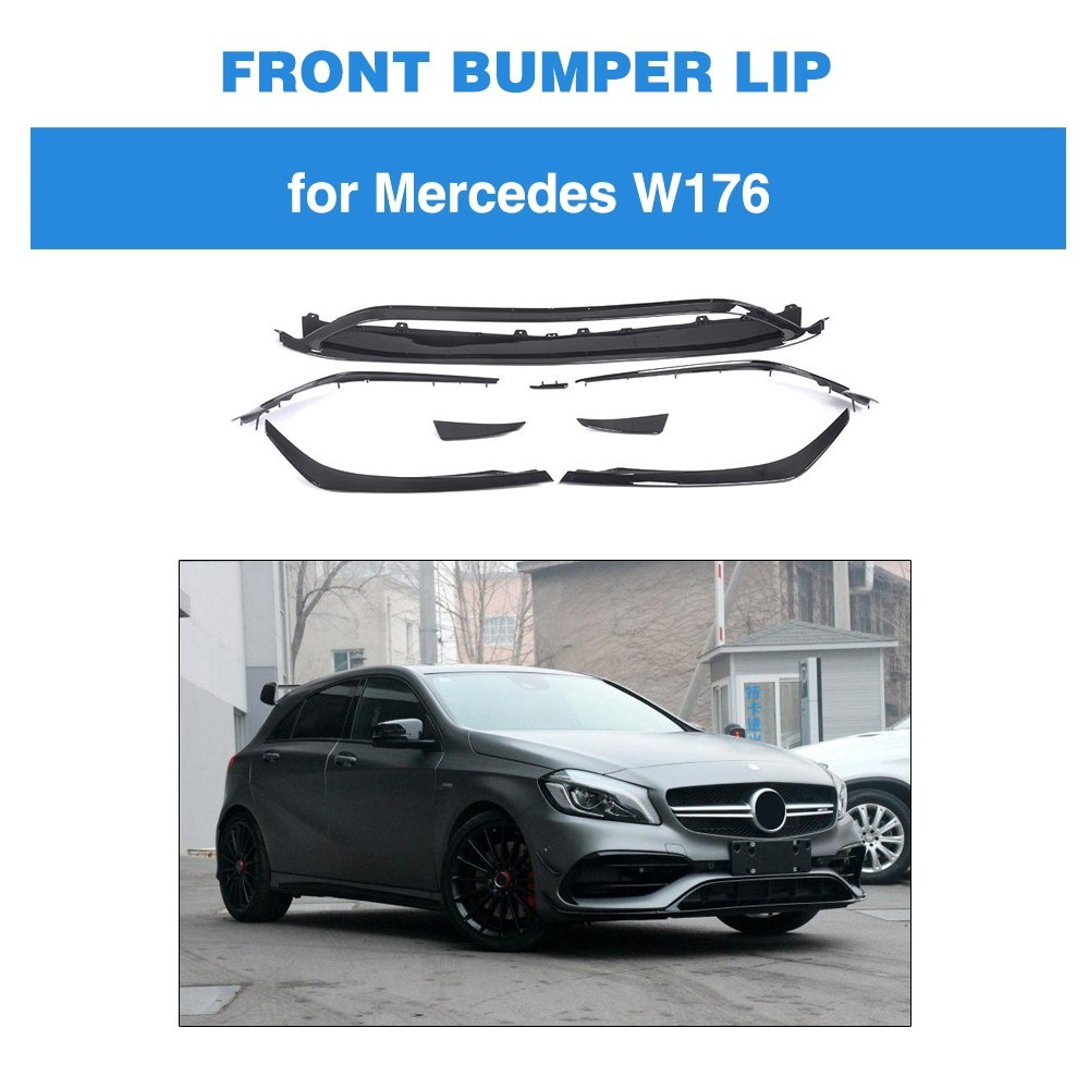 ABS Front Bumper Lip Canards Vents 8 pieces/set For <font><b>Mercedes</b></font> <font><b>Benz</b></font> <font><b>W176</b></font> <font><b>A200</b></font> A250 A45 AMG 5 Door Hatchback 2016 - Now image