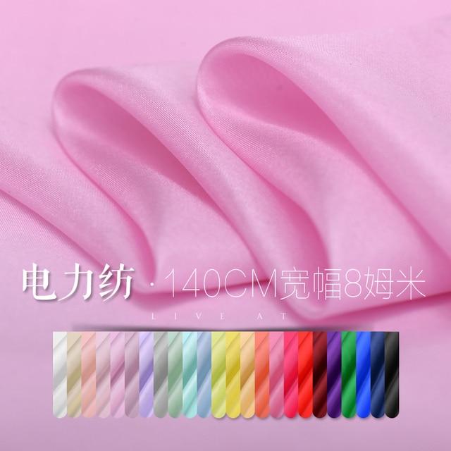 8 Mumi 140cm thin silk fabrics dress shirt solid power spinning silk fabric wholesale high quality lace cloth 24 color