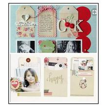 12PCS Craft Scrapbook Paper Craft Paper Label Bookmark Message Card Scrapbook Handbook Handmade Card Decoration Accessories