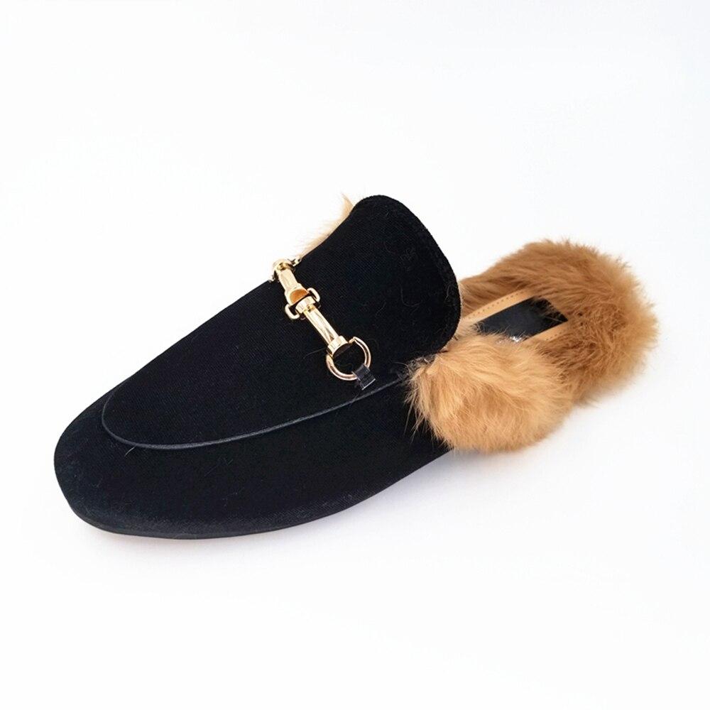 Брендовые дизайнерские Вельветовые женские шлепанцы с металлической цепочкой, лоферы без шнуровки, кожаные шлепанцы без задника, тапочки с