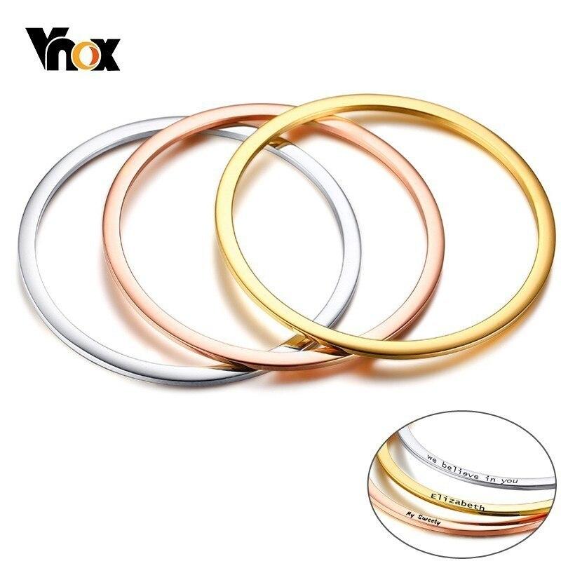 VNOX Women Personalize Custom Engraving Cuff Bracelets Bangle for Women Girl Three Tones Stainless Steel Best Friends Gift bangle