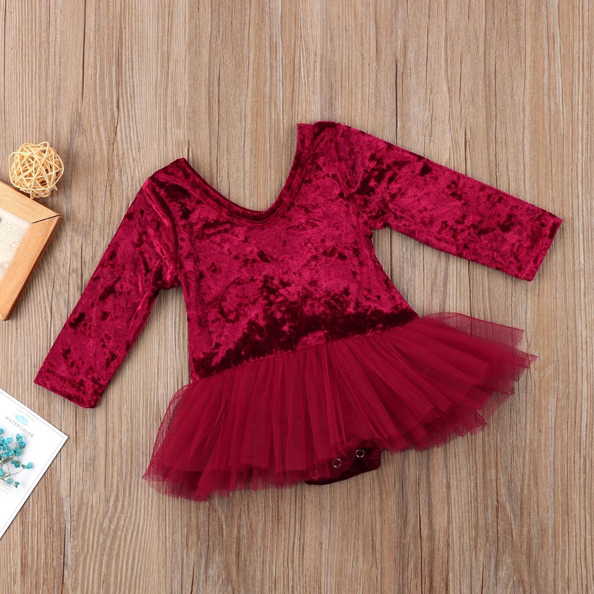 Newborn Kid Baby Girls Romper Tulle Pleuche Dress in Dresses from Mother Kids
