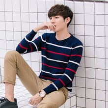 Casual Korean Style Men Wool Sweater Pullover  O-Neck Striped Men Fashion Sweater Knitted Slim Thin Winter Coat