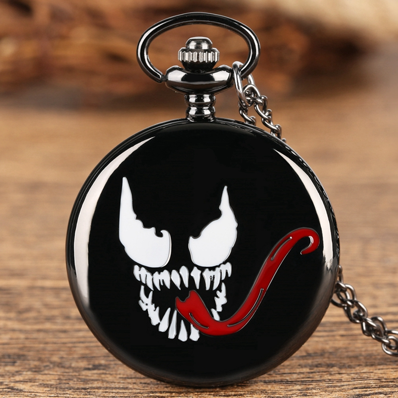 Evil Spirit Long Tongue Design Bronze Pendant Pocket Watch Quartz Black Steampunk Necklace Pendant Souvenir Gifts For Men Women