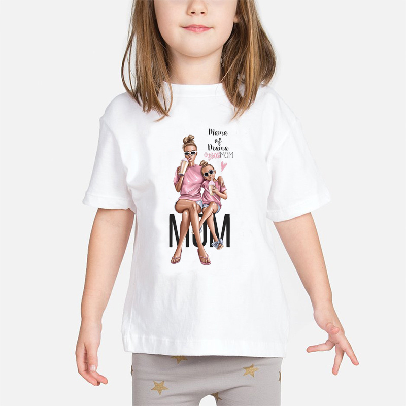 Child Tops Super Mom Baby Girls T Shirt Mother And Baby Love Life Vogue Kawaii Printed T-shirts Mommy's Love Kids White Clothing