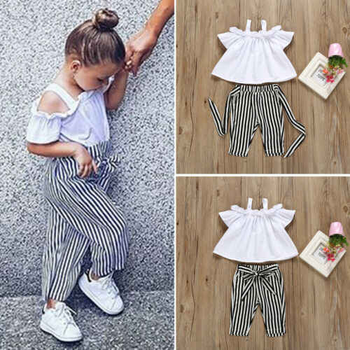 Yürümeye başlayan çocuk 2 Adet Set Çocuklar Bebek Kız Kapalı Omuz Tops beyaz tişört Şerit Uzun Pantolon Çocuk yaz giysileri Seti Kıyafetler Sunsuit
