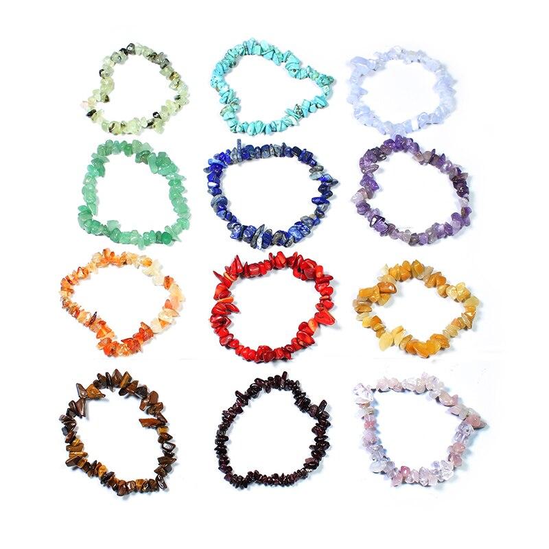 Handmade Stretch Crystal Chip Bracelet Gravel Bracelet Irregular Natural Stone Charm with Elastic Rope Gift For Women