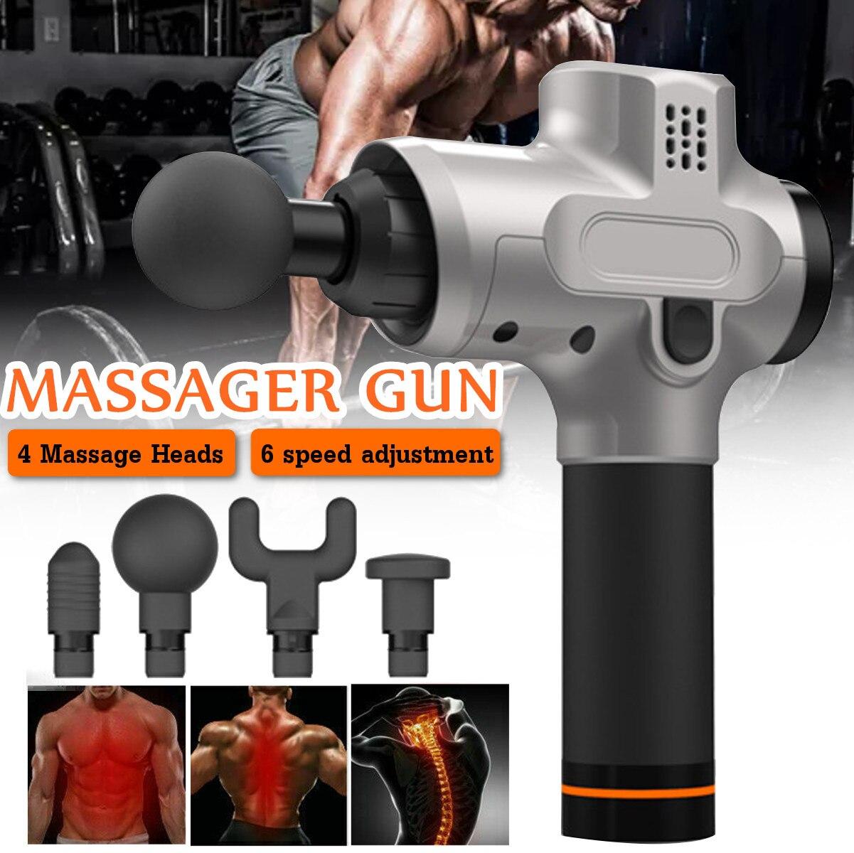 Pistolets de Massage de corps de thérapie électronique de 6 vitesses 24 V pistolets de Massage de LED sans brosse Muscles de corps relaxant douleurs de soulagement avec 4 têtes