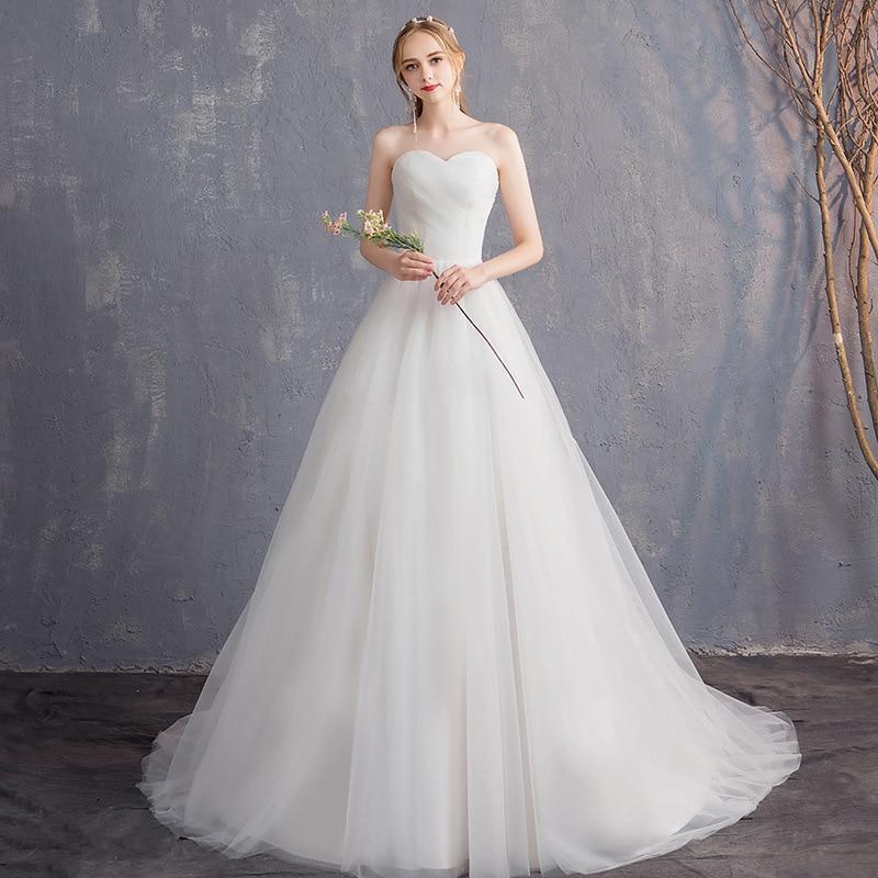 Popodion Wedding Dress Pregnant Women Strapless Bride Dresses Vestido De Noiva N1031