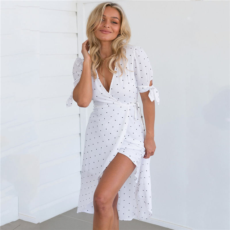 Hirigin Summer Sexy V Neck Hippie Boho Womens Dresses Casual Party Beach Long Maxi Dress Outwear for Female Birthday Gifts