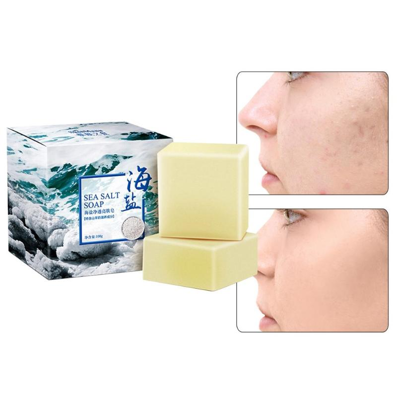 100g Sea Salt Soap Pimple Pore Acne Removal Treatment Goat Milk Moisturizing Face Wash Soap Base Skin Care Face Cleansning Soap