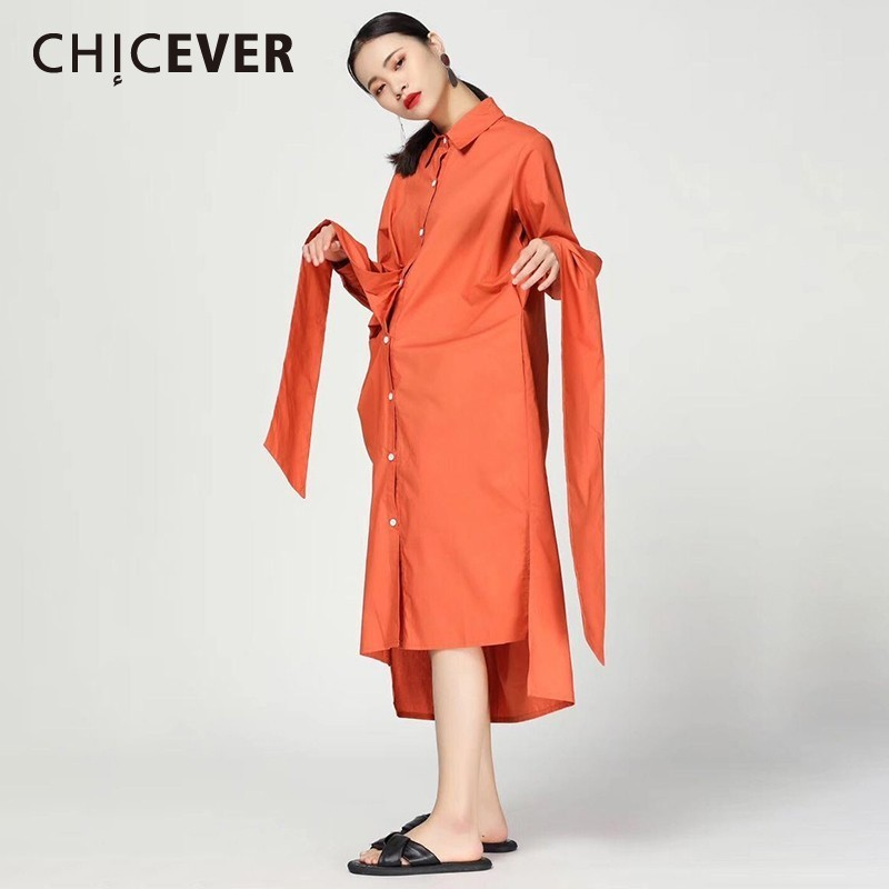 CHICEVER Fashion New Women Dress Lapel Long Sleeve Bow Sashes Irregular Hem Button Loose Oversize Female Mid-calf Dresses Tide
