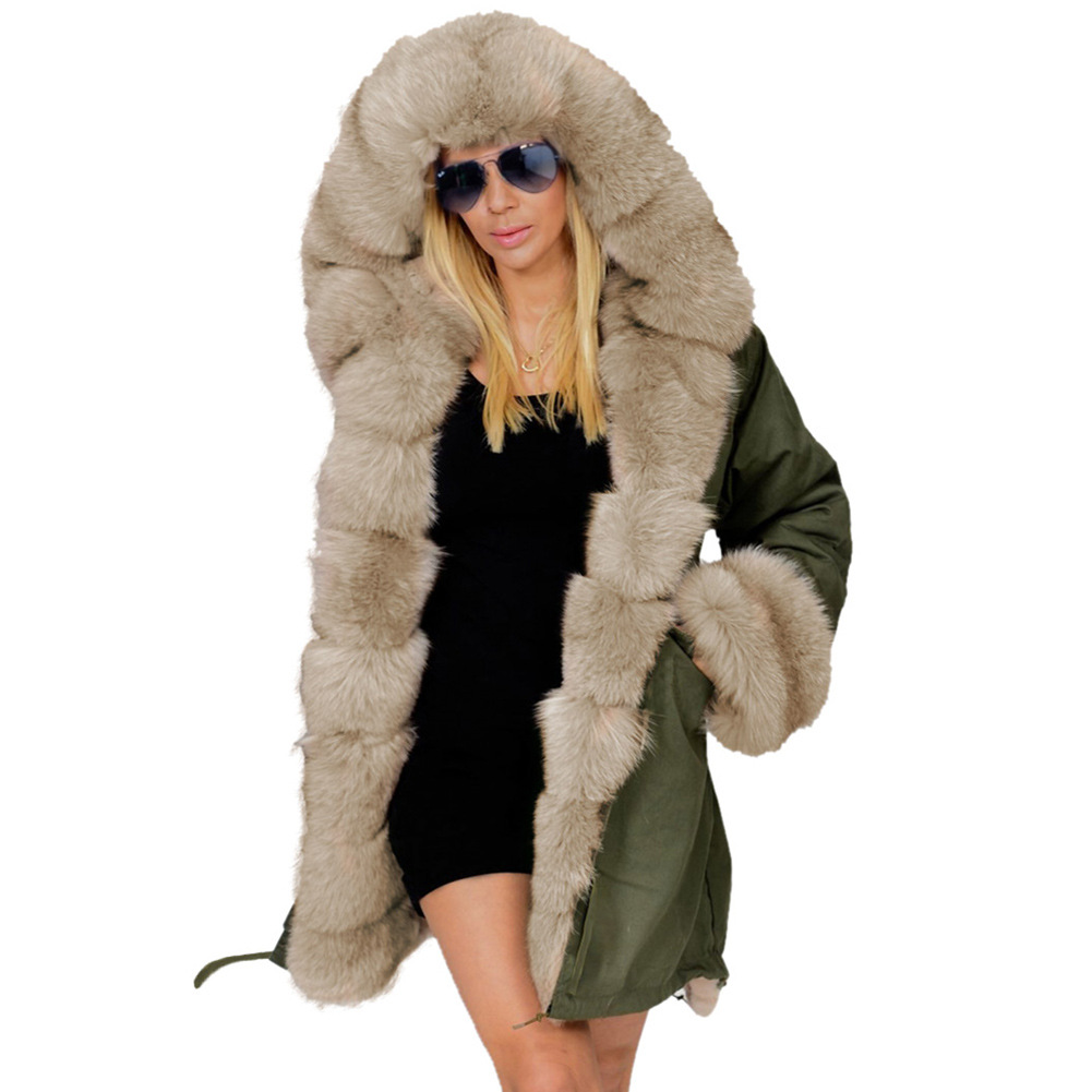 9a640a011 Women Fashion Thicken Warm Luxury Winter Coat Faux Fur Hood Parka Overcoat  Top Long Jacket Outwear | ShopJZYWomens