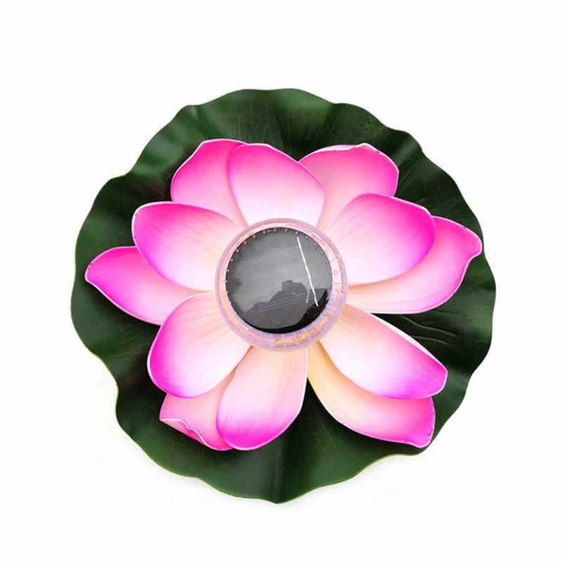 1 шт. на солнечных батареях многоцветный светодиодный светильник цветок лотоса RGB пруд ночник для сада бассейн устойчивый открытый плавающий