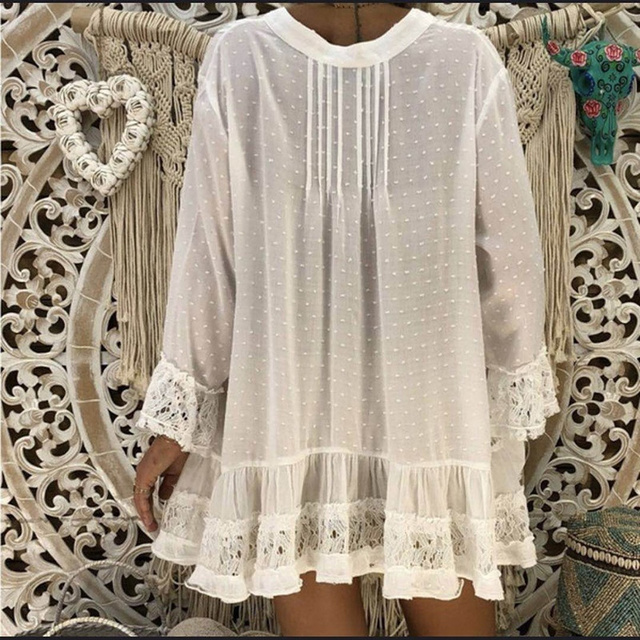 V Neck Loose Shirt  Lace Blouses Summer Clothing 1