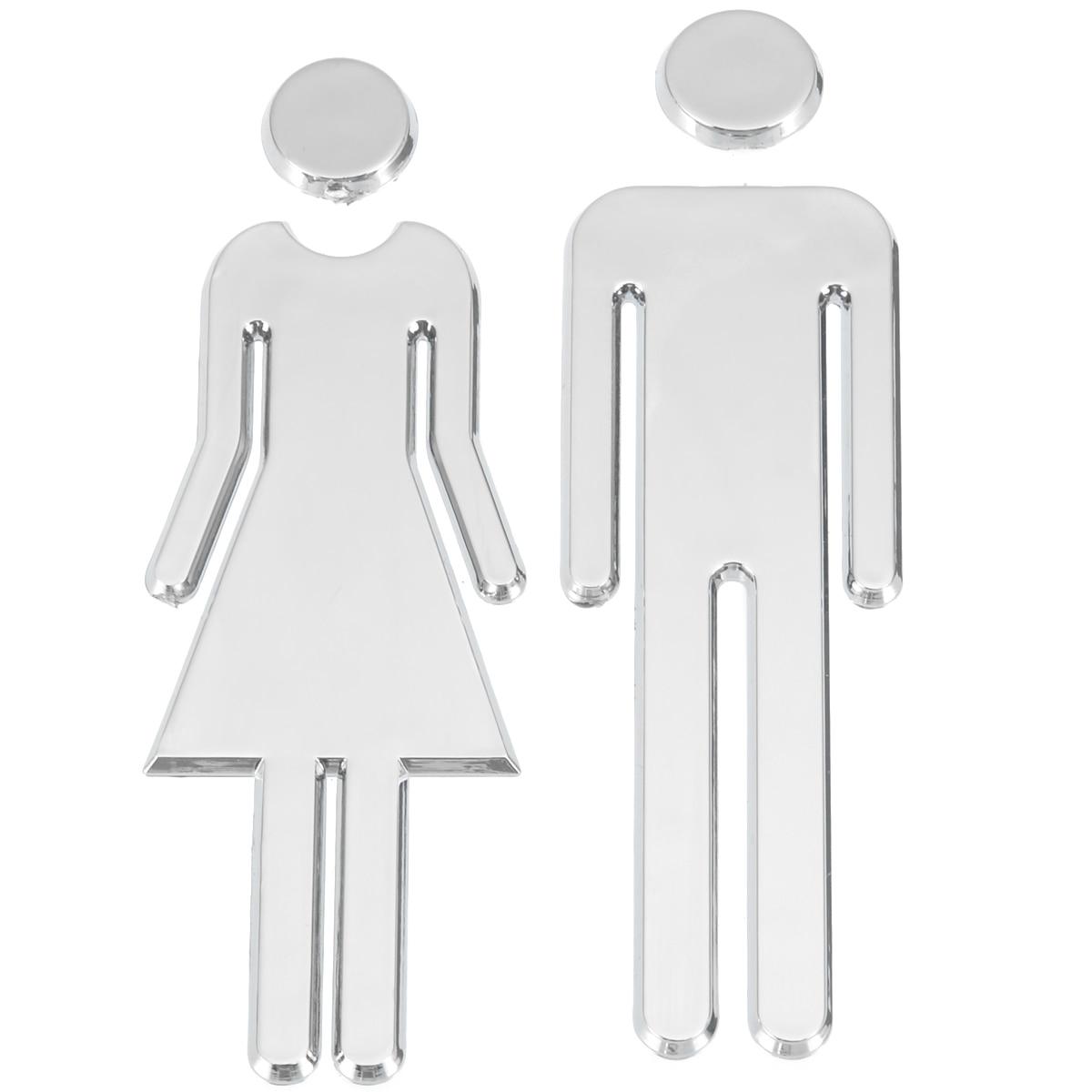 Zelfklevende MANNEN WOMEN WC Deurbord DIY Spiegel Heer Dames Toilet - Huisdecoratie