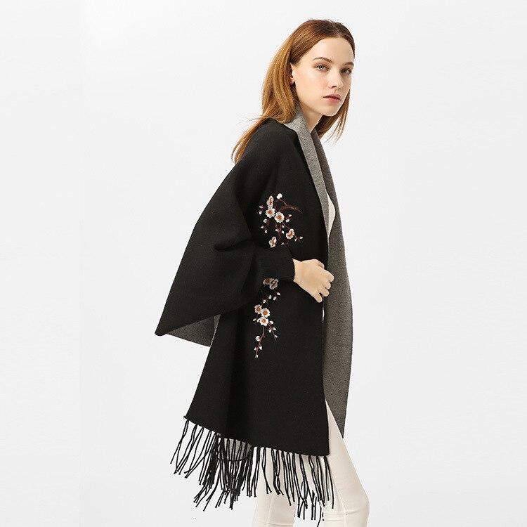 Poncho Femme Hiver châle Wrap écharpe Feminino Inverno manteau femmes gland Pashmina Cardigan broderie fleur de prune écharpes chaudes