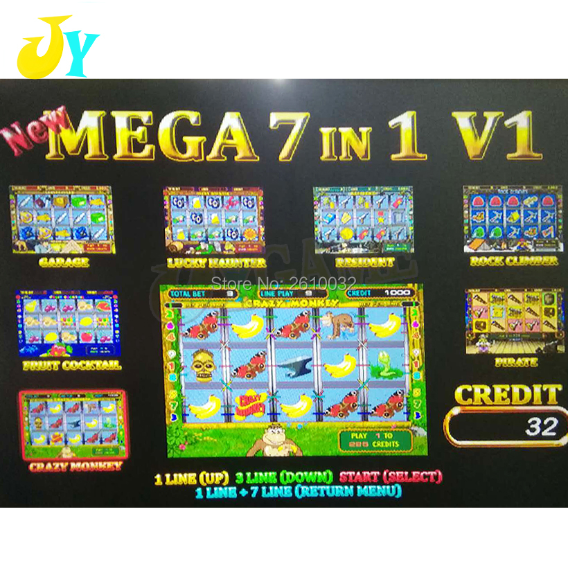 coin operated slot game machine board New Mega 7 in 1 60 94 PCB Crazy Monkey