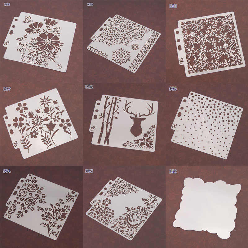 Wall Painting 12 Styles Embossing Hollow Layering Stencils Template Album Decor Scrapbooking Stamping Hollow Templater