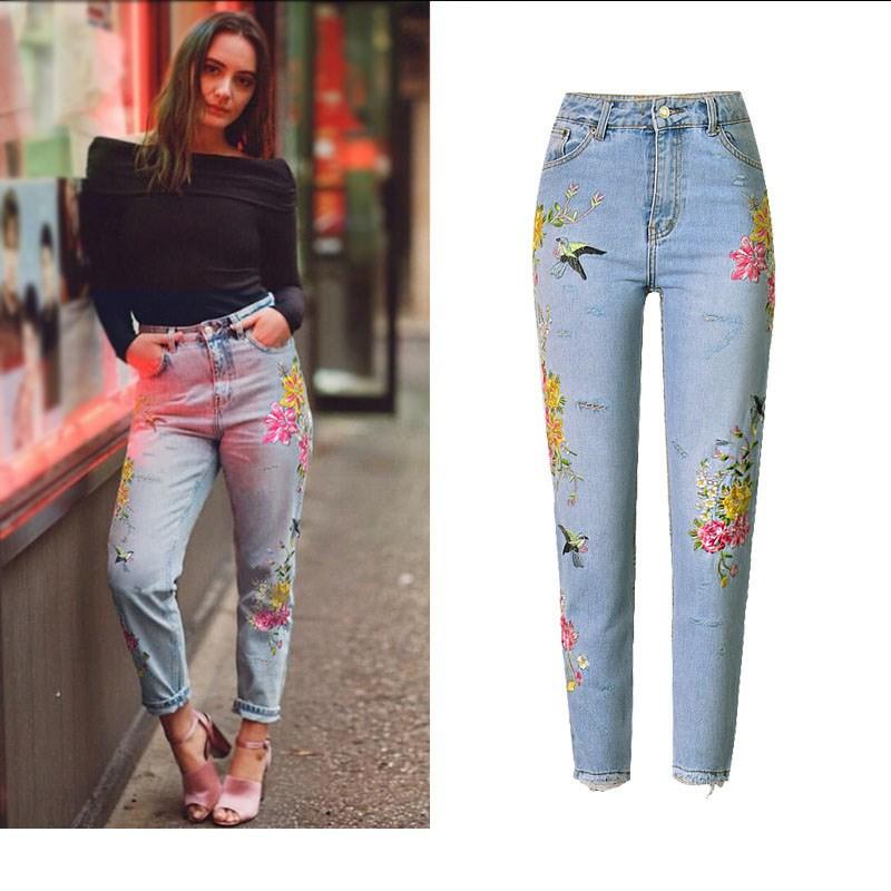 Повседневные женские прямые джинсы с цветочной вышивкой, рваные брюки с высокой талией, женские уличные джинсовые штаны