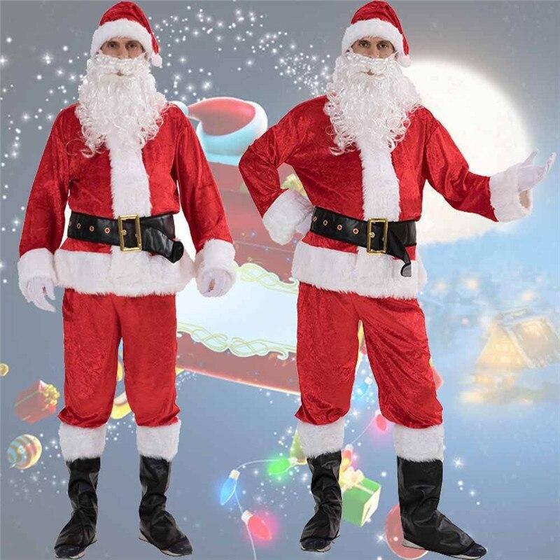 NEW 6-PIECE VALUE MEN RED CHRISTMAS XMAS SANTA CLAUS SUIT COMPLETE COSTUME PARTY