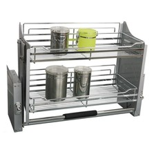Dish Organizador Cocina Accesorios Organizar Para Armario Stainless Steel Hanging Organizer Rack Cuisine Kitchen Cabinet Basket