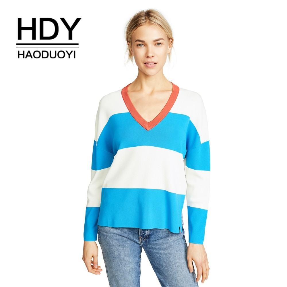 HDY Haoduoyi Loose V-collar colour-impact knitted sweater with wide stripe splicing arc hem