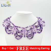 LiiJi Unique Natural Amethysts ,White Quartzs with 925 sterling Silver Clasp Big Necklace Fashion Women Jewelry