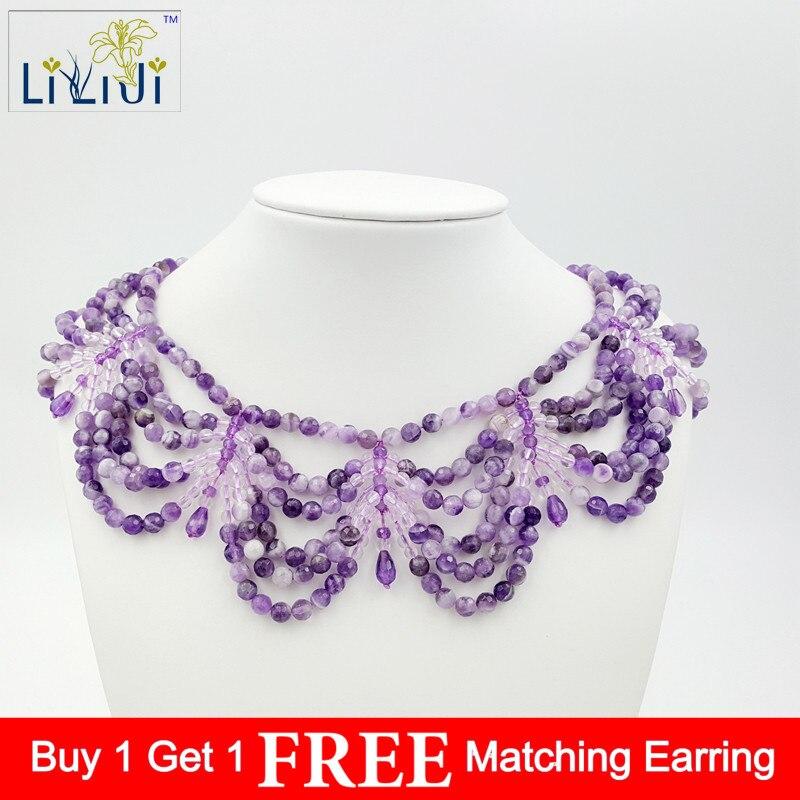 LiiJi améthystes naturelles uniques, Quartzs blancs avec fermoir en argent sterling 925 grand collier mode femmes bijoux