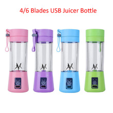 380ML 4/6 Blades Handhels USB Juicer Bottle Portable Electric Fruit Lemon Juicer Blender Squeezer Reamer Machine Drop Shipping цена 2017