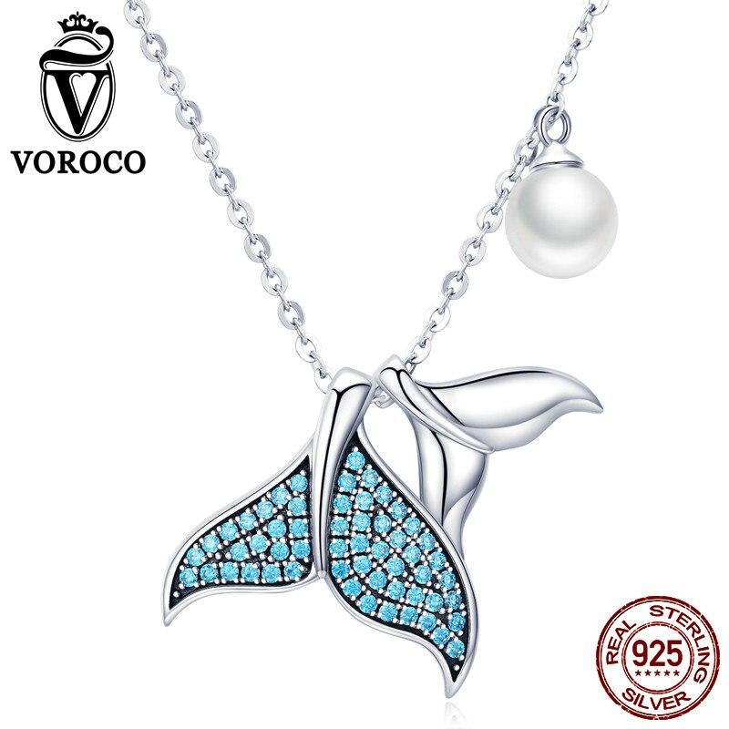 Voroco 925 Sterling Silber Meerjungfrau Schwanz Halsketten Anhanger