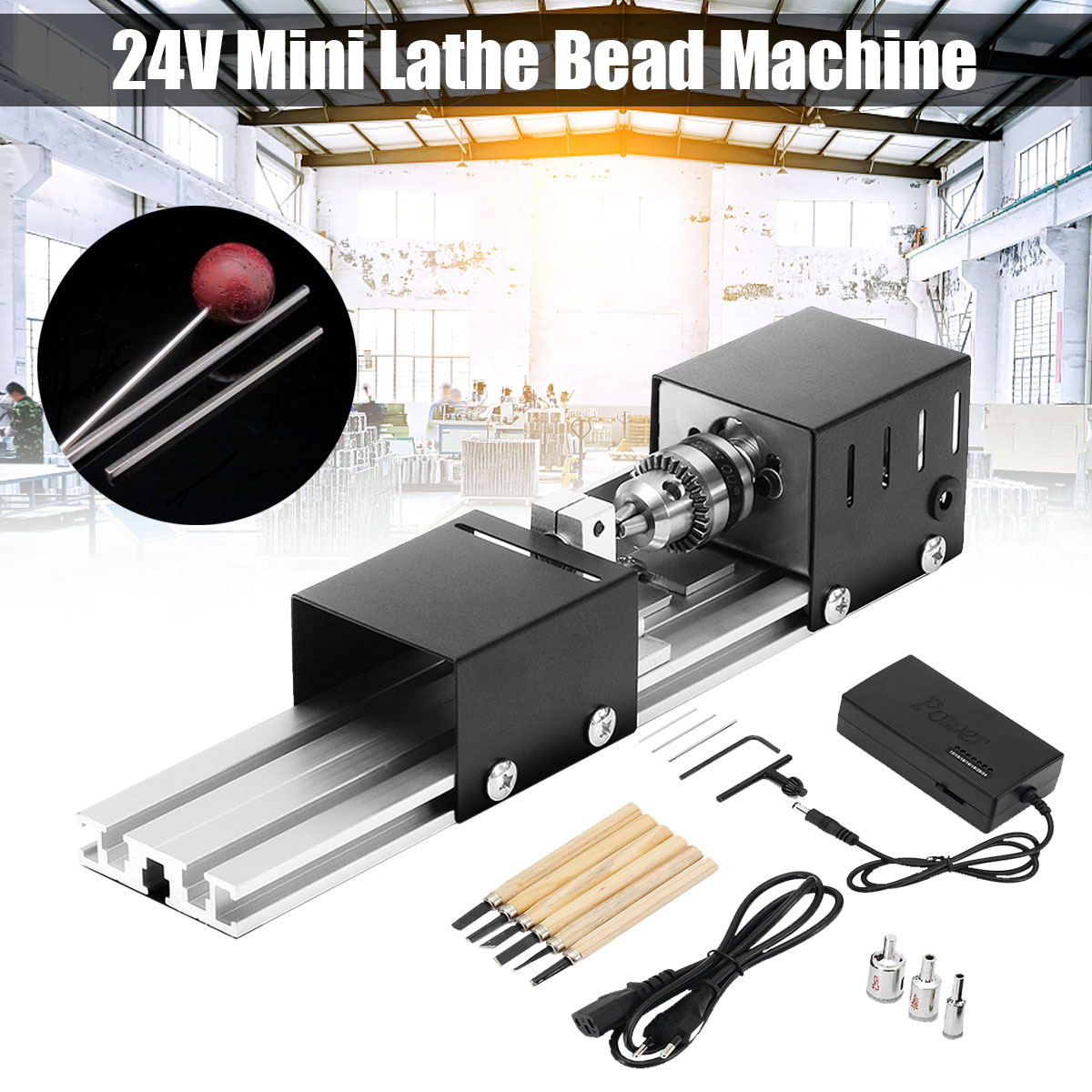 Mini Lathe Machine Woodworking DIY Lathe Set with DC 24V 80W Power Adapter 3 Pcs Beads Round Device 6 ChiselMini Lathe Machine Woodworking DIY Lathe Set with DC 24V 80W Power Adapter 3 Pcs Beads Round Device 6 Chisel