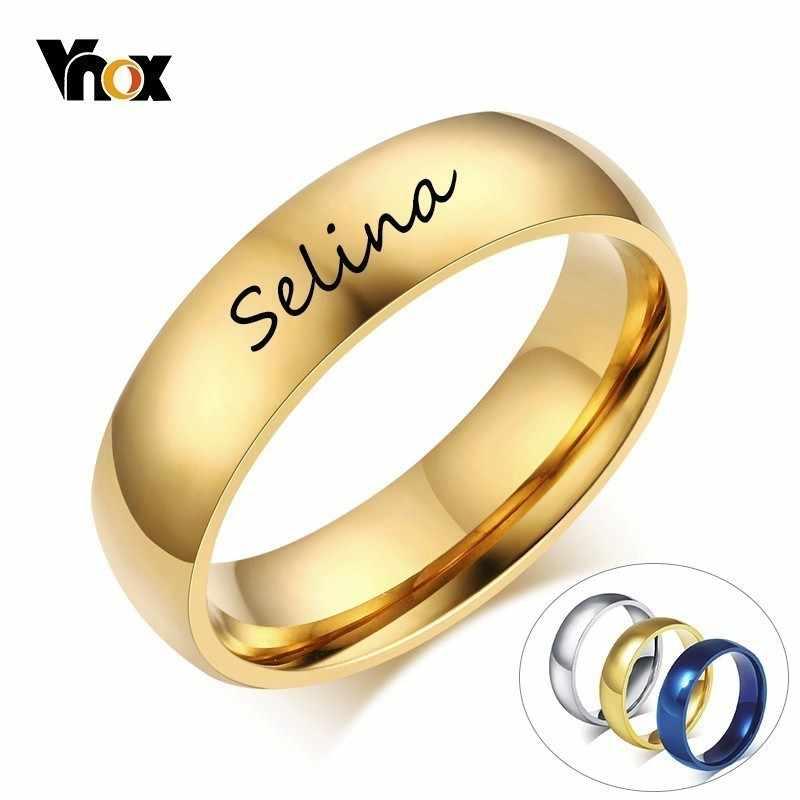 Vnox, Бесплатная персонализация, начальная буква алфавита, кольцо для женщин и мужчин, золотой тон, нержавеющая сталь, простые обручальные кольца, заказное имя, подарок