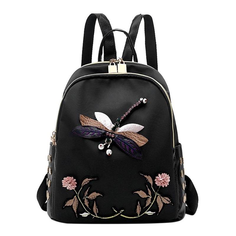 Handmade Dragonfly Embroidery Women Backpack Luxury Brand Desinger Nylon Black Elegant Female Mochila Travel Bag
