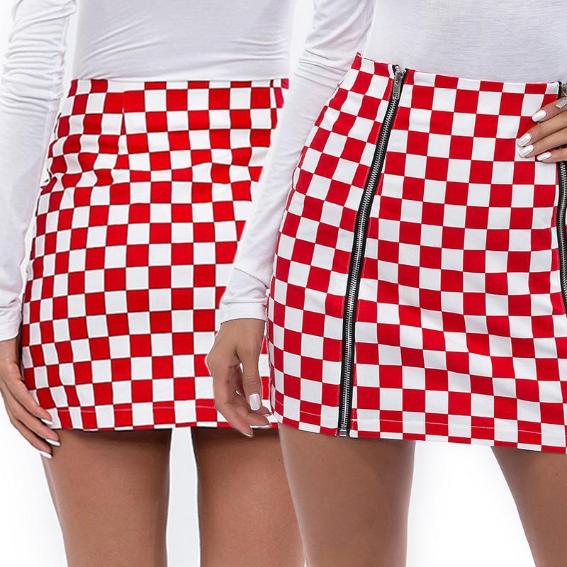 2019 New Arrival Sexy Casual Skirts Women Short Plaid Skirts High Waist Zipper Front Hip Package Mini Skirts