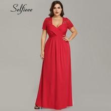 2019 New Fashion A Line Short Sleeve Ladies Party Dresses Elegant V Neck Red Lace Dress Summer Beach Chiffon Dress Vestidos