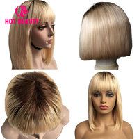 Hot Beauty Hair Blonde Straight Short Bob Human Hair Wigs With Front Bangs Double Drawn Brazilian Remy Hair Wigs for Black Women