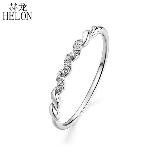 HELON Solide 14 K Weiß Gold (AU585) certified H/SI Runde 100% Echte Natürliche Diamanten Engagement Hochzeit Frauen Edlen Schmuck Ring-in Ringe aus Schmuck und Accessoires bei  Gruppe 1