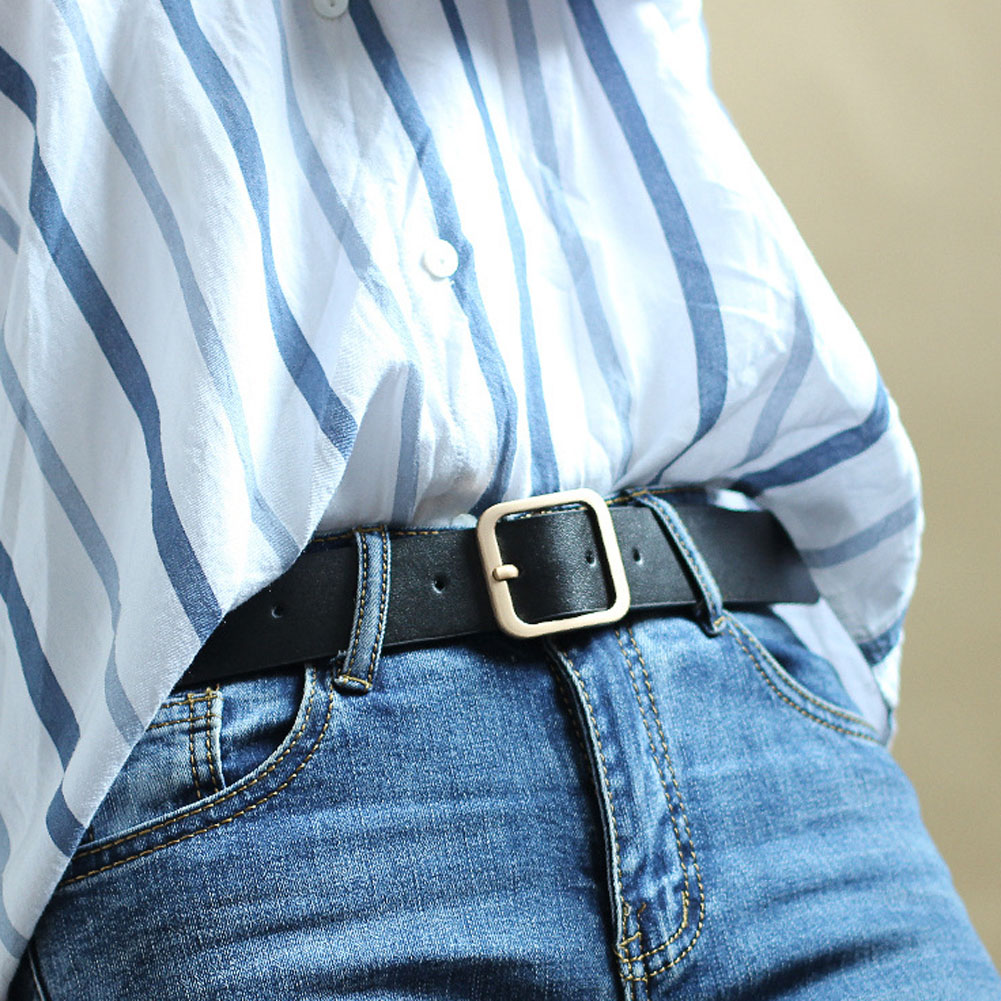 Hot Sale Square Buckles Belt Female Gold Deduction Jeans Wild Belts Fashion Students Simple Casual Trouser Belt Accessories