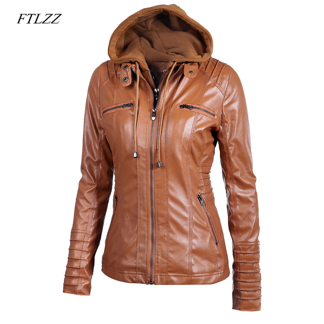 bb7ee488e0b64 Ftlzz 2019 New Women Faux Leather Jacket Pu Motorcycle Hooded Hat  Detachable Casual Leather Plus Size