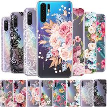 Phone Case For Huawei P8 P9 P10 P20 P30 Lite Pro Mate 10 20 P Smart Plus Y6 2019 Floral Silicone Cases Clear Tpu Soft Slim Cover(China)