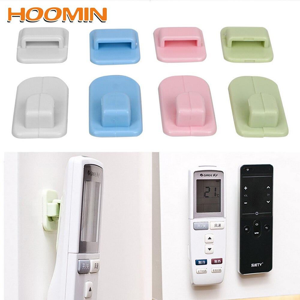 HOOMIN 4pcs/set Wall Storage Organization Remote Control Holder Adhesive Tape Hanger Sticky Hook Set