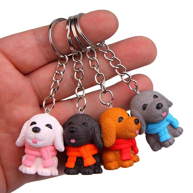 4 pcs Cachecol Cão Chaveiro Carro Chaveiro Pingente Chaveiro Pingente Bonito Saco Da Bolsa de Mão Criativa Decoração Presente Para A Menina