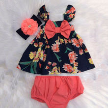 Newborn Baby Girl Summer Flower Clothes Sets Floral Printed Bow Tie Tops +Solid Shorts Headband 3PCS Outfit Clothes