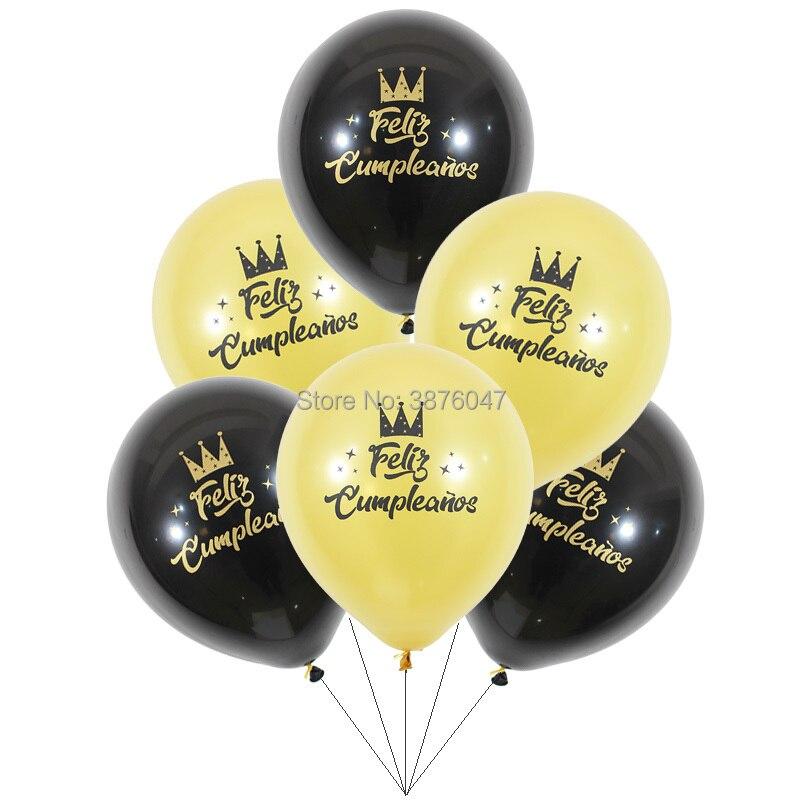 Ballons pour joyeux anniversaire, 6 pièces/lot, noir, rose, or, espagnol, décorations de fête danniversaire, 20 30 40 50 60 70