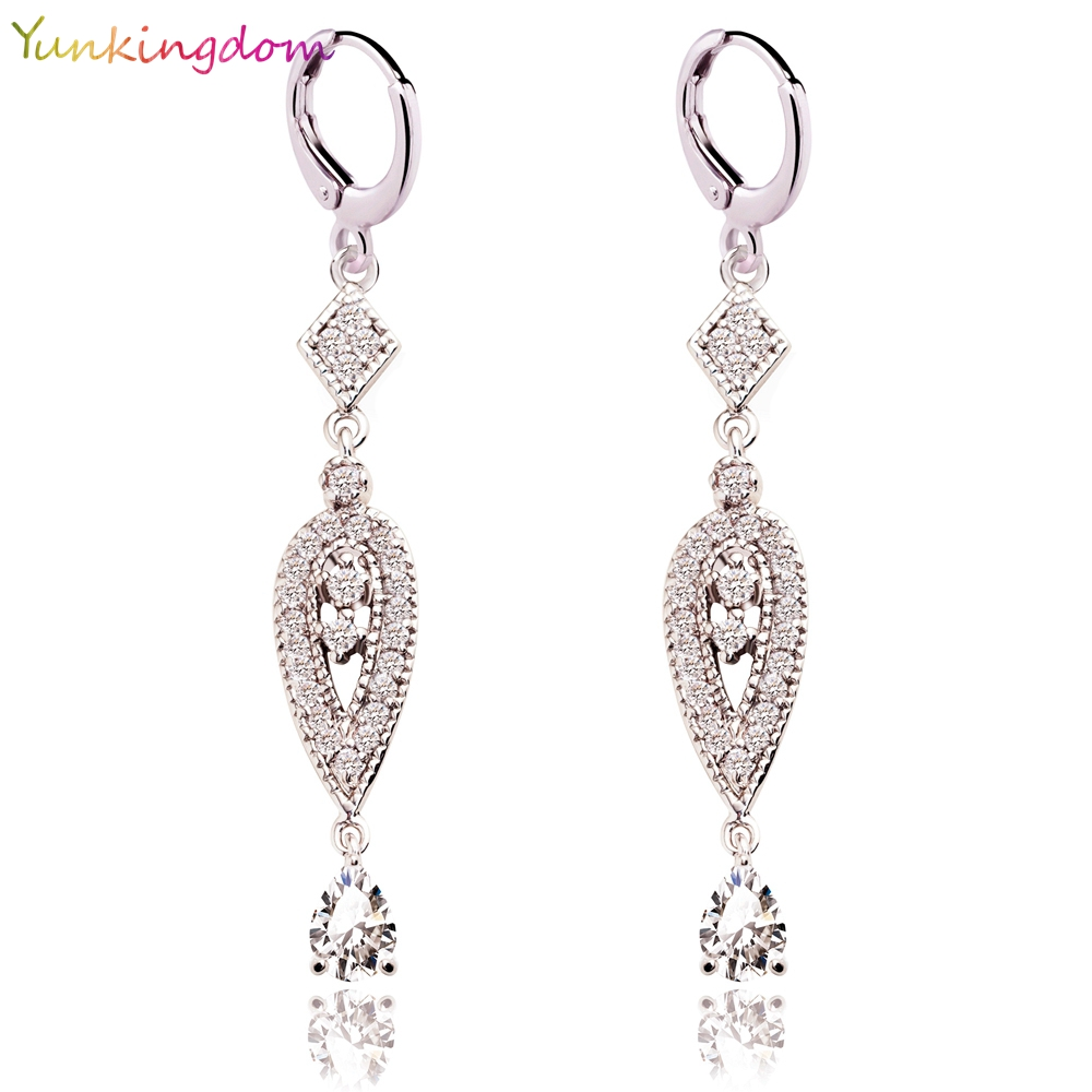 Yunkingdom 2 Colors Vintage Eardrop Earrings for Women  Zircon Crystal Long Dangle Earring Girls Fashion Jewelry Gifts